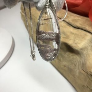 coolgems Jewelry - Natural Clear Phantom Crystal Pendant And Chain